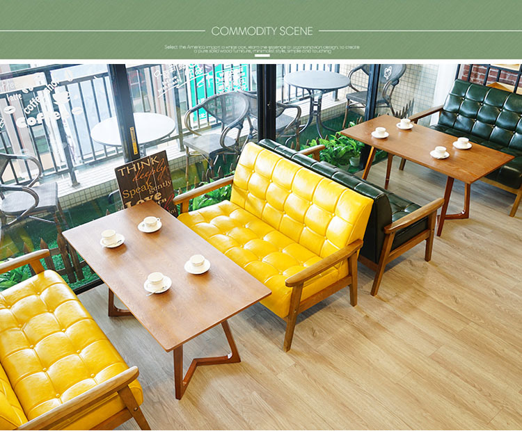 Professional Leisure Coffee Shop Wooden Table And Sofa