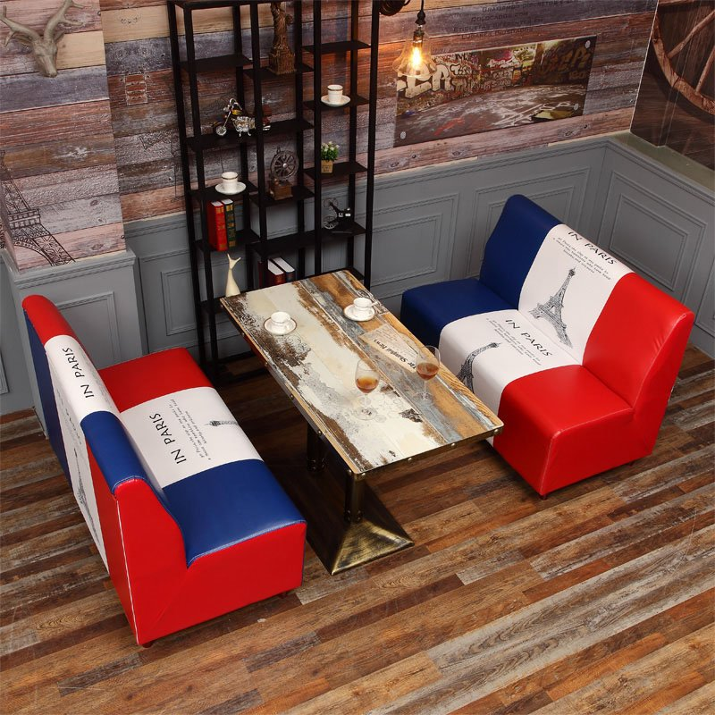 ShengYang restaurant furniture Vintage Industrial Style Coffee Shop Furniture Custom-Made Booths Sofa SE002-6 Table and Sofa Group image187