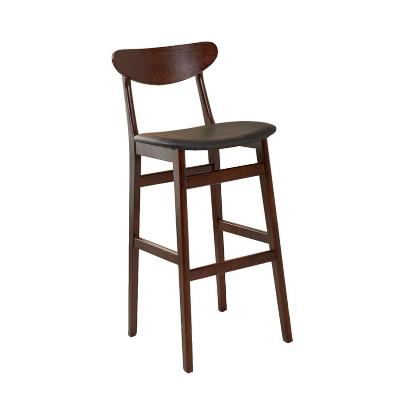 Modern Design Starbucks Wooden Barstool With Leather Soft