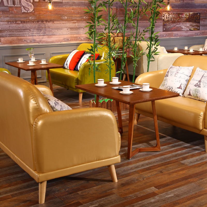 Rustic Style Dining Furniture Coffee Shop Wood Table And Sofa Set SE007 5