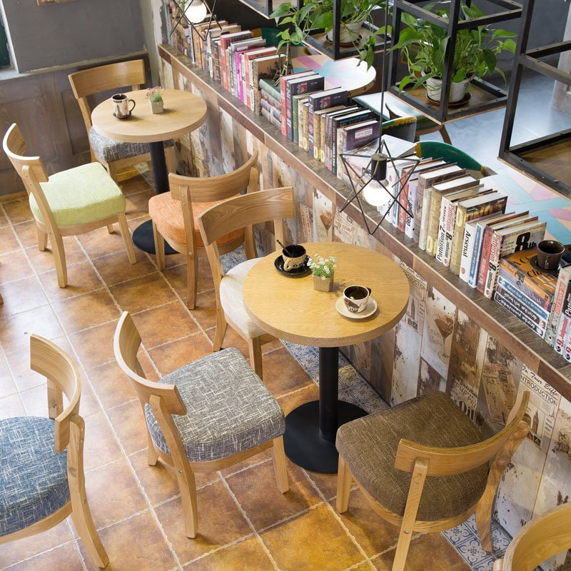 Coffee Table And Chair: Nordic Style Customized Coffee Shop Furniture Wooden