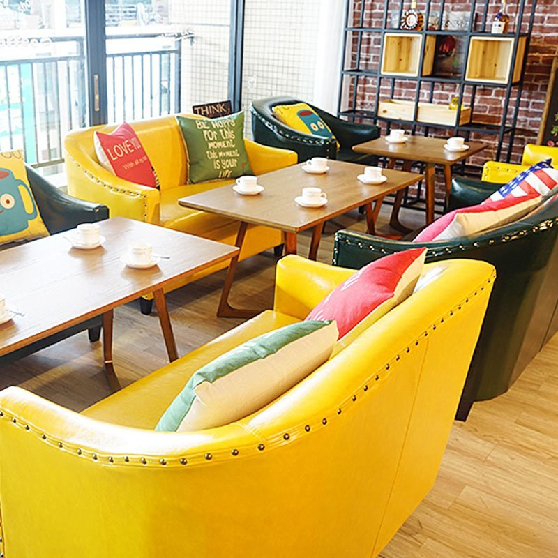 Sofa Table With Seating: Best Modern Coffee Shop Dining Table And Colorful Sofa