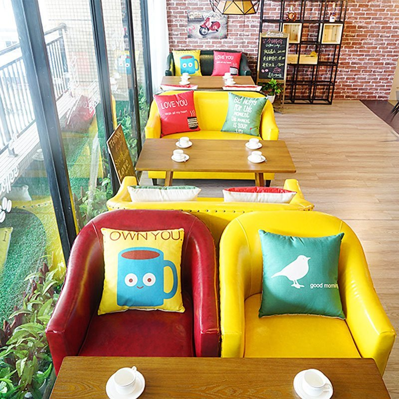 Colorful Modern Coffee Table: Best Modern Coffee Shop Dining Table And Colorful Sofa