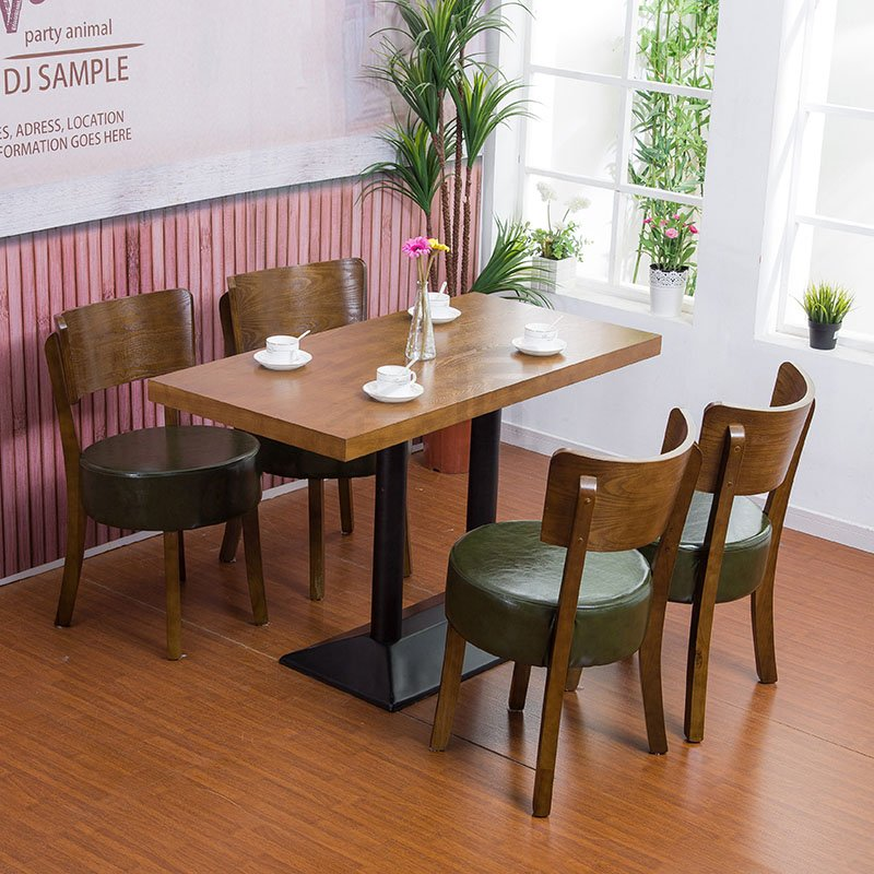 Contemporary coffee shop wooden tables and chairs group