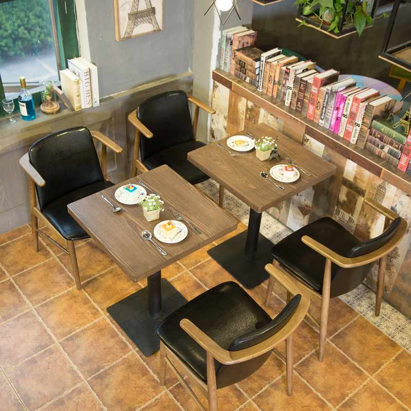 Nostalgic style wooden armrest chair and dining table