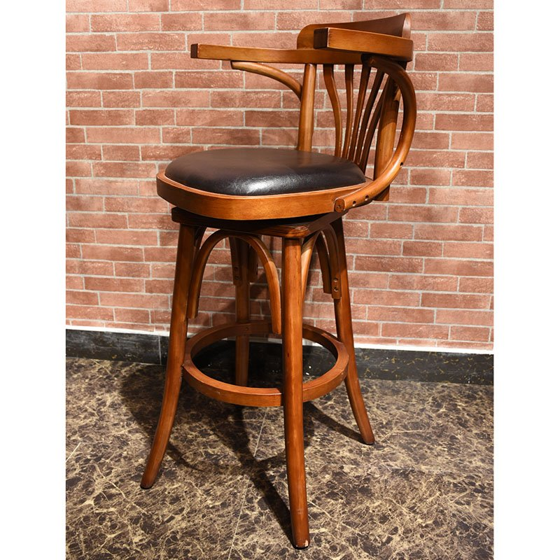 Retro Bar Furniture Wooden High Chair And Table Group26