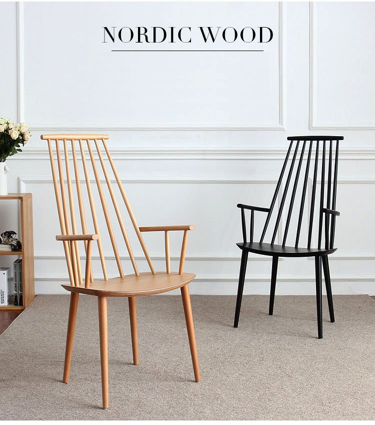 Scandinavian Design Wooden High Back Arm Rest Windsor