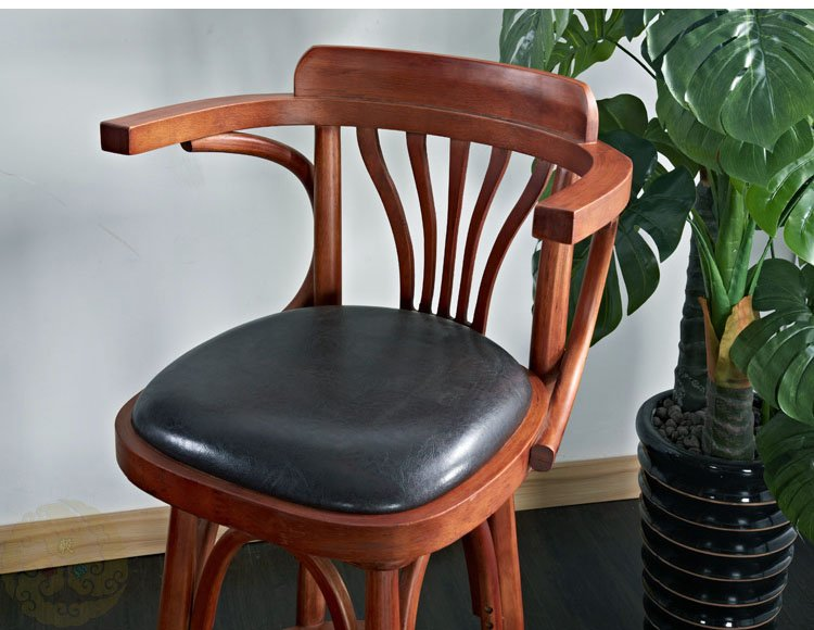 Retro Wooden High Bar Chair With Arms Ba010 Pub Bar