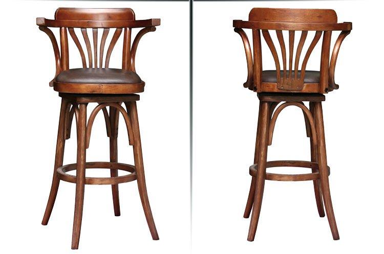 Retro Wooden High Bar Chair With Arms Ba010 Pub Bar