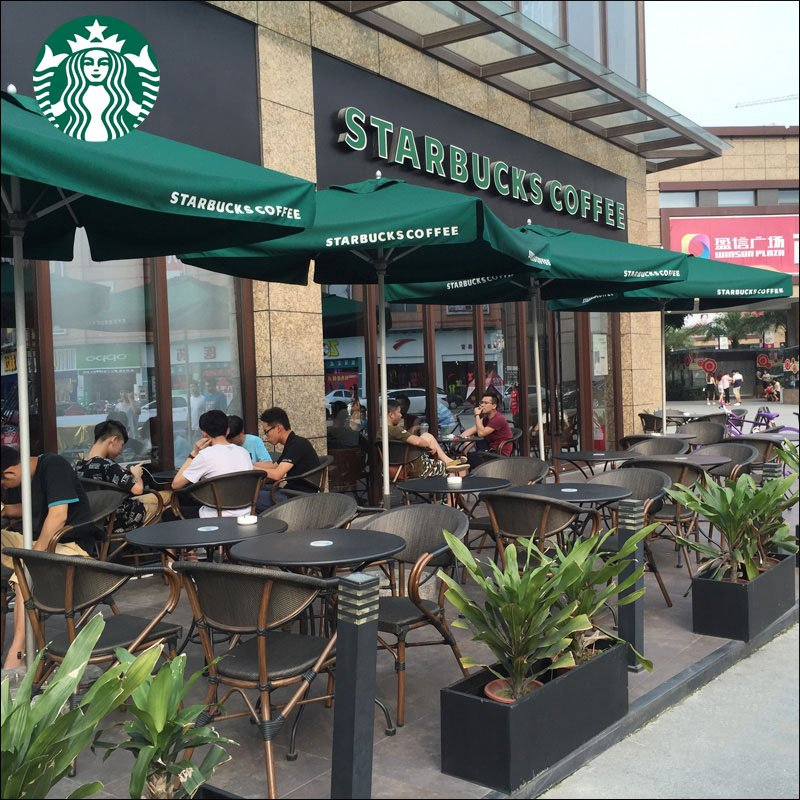 High Quality Starbucks Outdoor Cafe Table And Rattan