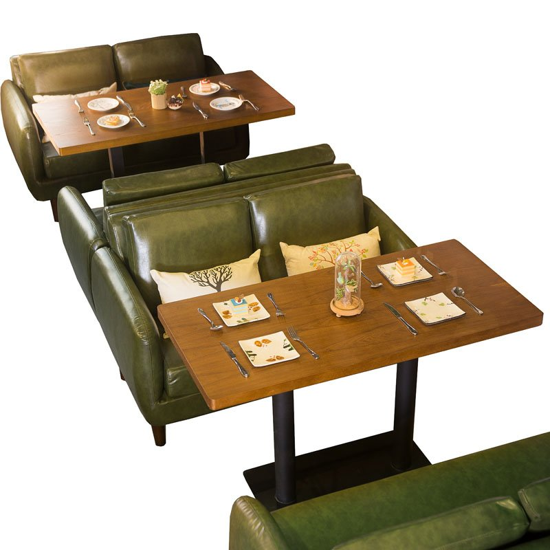 Sofa Table With Seating: Retro Dining Table And Double Sofa Seating For Cafe Se005-16