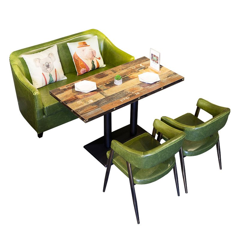 Sofa Table With Seating: ShengYang Industrial Retro Table And Leather Dining Sofa